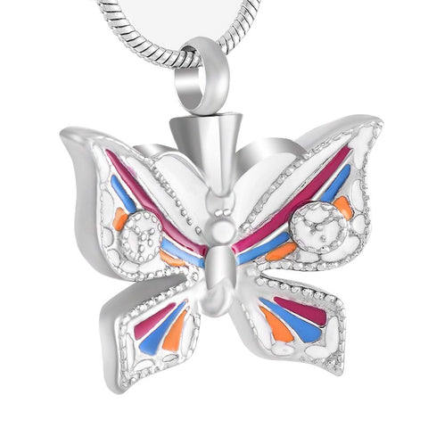 Multicolor Butterfly Stainless Steel Memorial Ash Keepsake Jewelry