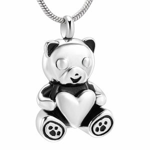 Stainless Steel Cute Bear Hold Heart Cremation Pendant Keepsake Jewelry