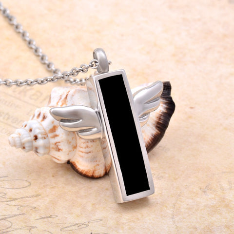Black Plated Little Angle Wing  Necklace Keepsake Cremation Jewelry