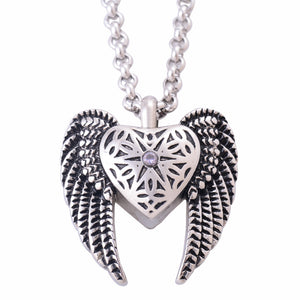 Stainless Steel Antique Silver Heart Angels Wings Pendants Necklaces Cremation Jewelry