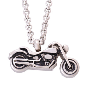 Punk Boys Motorcycle Pendants Necklaces Stainless Steel Cremation Jewelry