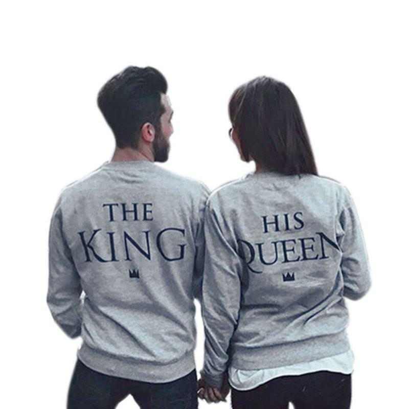 3aff496228 King Queen Couple Long Sleeve Hoodies 2017 - TR-Mart