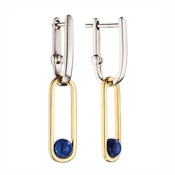Fiorelli Silver Drop Hoop Earrings with Blue Lapis Agate