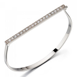 Fiorelli Designer Silver Pave Hinged Bangle