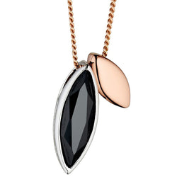 Fiorelli Designer Silver Rose Gold and Black Cubic Zirconia Pendant