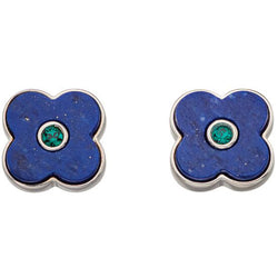 Orla Kiely Lapis Shadow Flower Stud Earrings