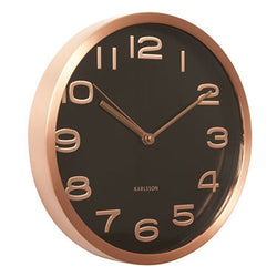 Karlsson Black Maxie Copper Steel Wall Clock