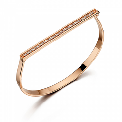 Fiorelli Designer Silver Rose Gold Pave Hinged Bangle