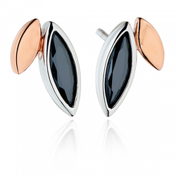 Fiorelli Morden Silver Rose Gold and Black Cubic Zirconia Stud Earrings