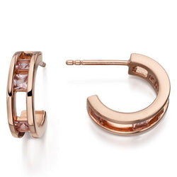 Fiorelli  Silver Hoop Earrings with Pink Created Nano Crystal