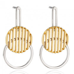 Fiorelli Morden Silver Mixed Metal  Disc Drop Earrings