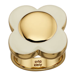 Orla Kiely Contemporary Cream Enamel Flower Ring