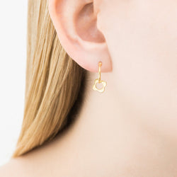 Orla Kiely Flora four point flower hoop earring in gold plated sterling silver