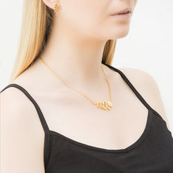 Orla Kiely Designer Yellow Gold Plated Leaf Necklace