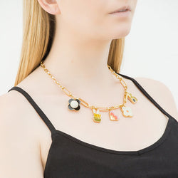 Orla Kiely Mixed Link Chain 5 Charm Necklace