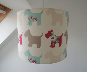 Handmade Lampshade in Scottie Dog Fabric