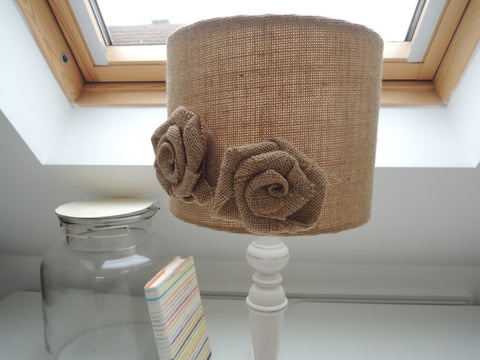 Handmade Lampshade in Hessian with Flowers