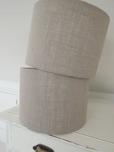Handmade Lampshade In Grey Hessian Fabric