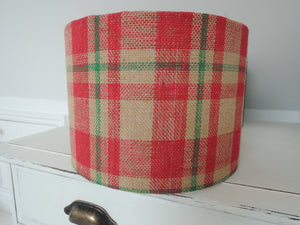 Handmade Lampshade In Plaid Hessian Fabric