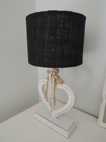 Handmade Lampshade In Black Hessian Fabric
