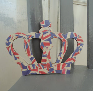 Limited Edition- Decoupage Crown in Union Jack