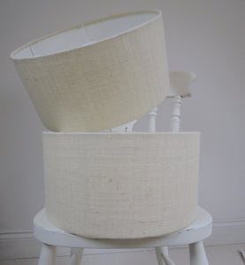 Handmade Lampshade In Natural White Hessian Fabric