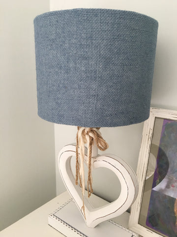 Handmade Lampshade In Steel Blue Hessian Fabric