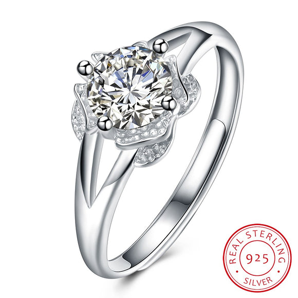 Silver ring fashion trend ring flower shape