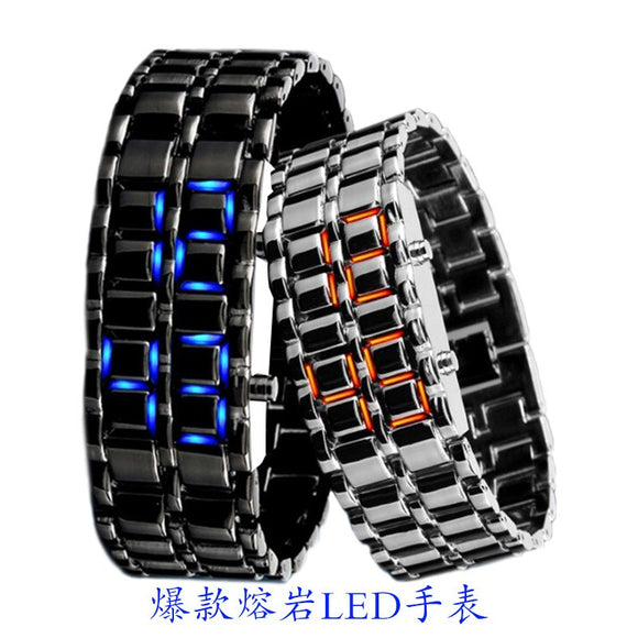 Korean fashion cool LED electronic watches students watch chain generation lava