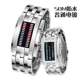 Fashionable double binary LED lamps electronic watches explosion models couple tables