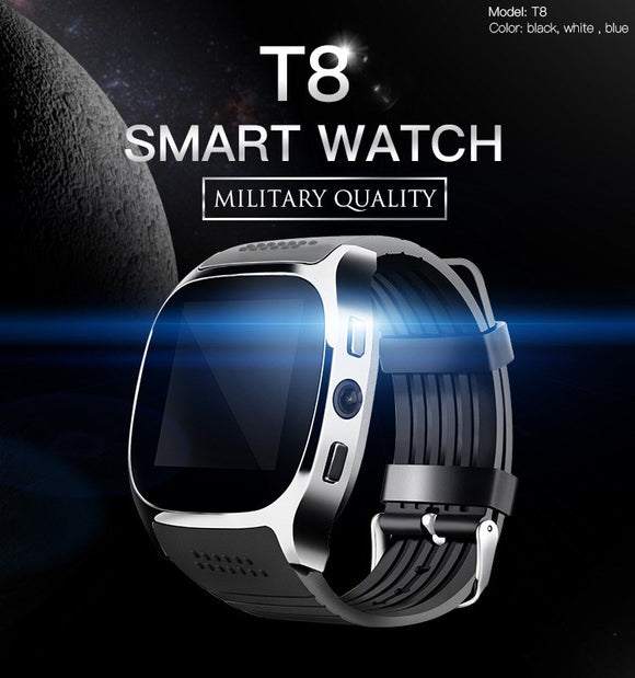 Smart Watch T8 support Bluetooth SIM card memory card touch LED screen pedometer sleep monitoring