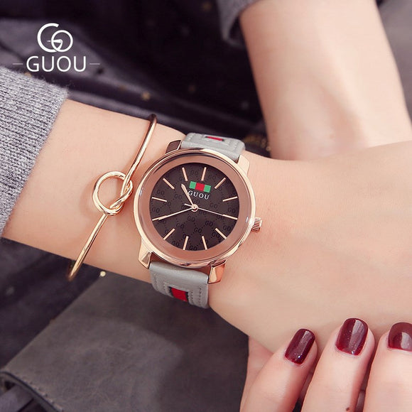 GUOU / Old Europe Ladies Watch New Ladies Leather Watch Europe and the United States simple fashion