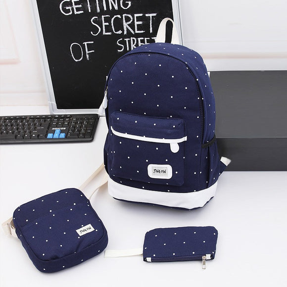 Wave dot three sets of school bag school wind backpack fashion canvas backpack