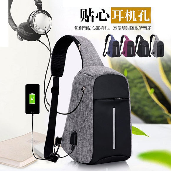 Men and women leisure USB charging Shoulder Messenger chest chest travel riding anti-theft backpack