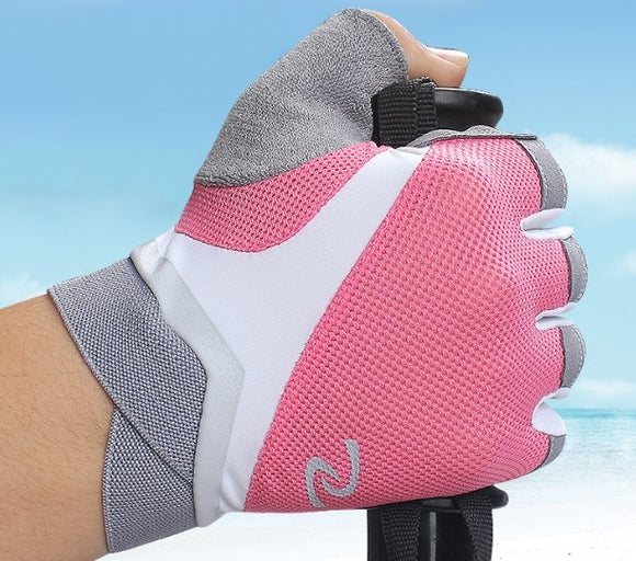 Half-finger gloves female breathable padded silicone non-slip gloves outdoor climbing fitness thin
