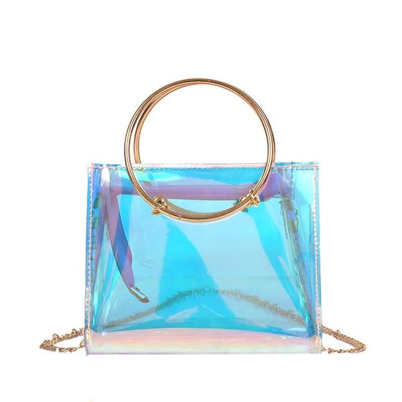 Ins Super Fire Laser Transparent Jelly Bag 2018 New Portable Mother Daughter Shoulder Bags Chain Me