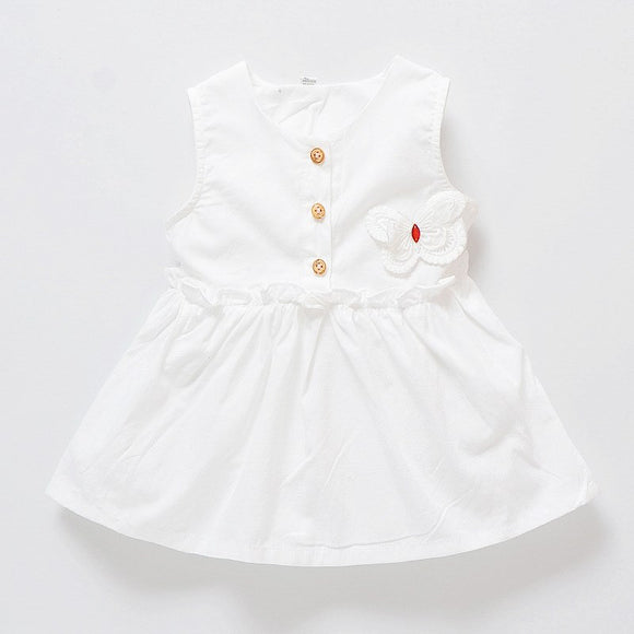 2018 Summer Girl Pure Child Dress Butterfly Embroidery Patch Dress