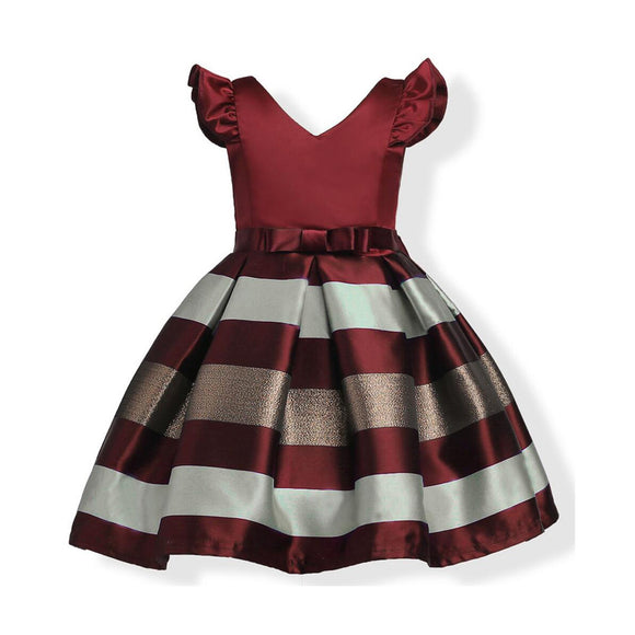 European and American girls dress small flying sleeves stripes in the big children princess dress