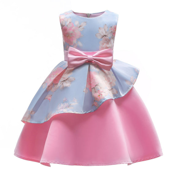 2018 Spring and summer irregular skirt printed children's dress skirt children's bow dress