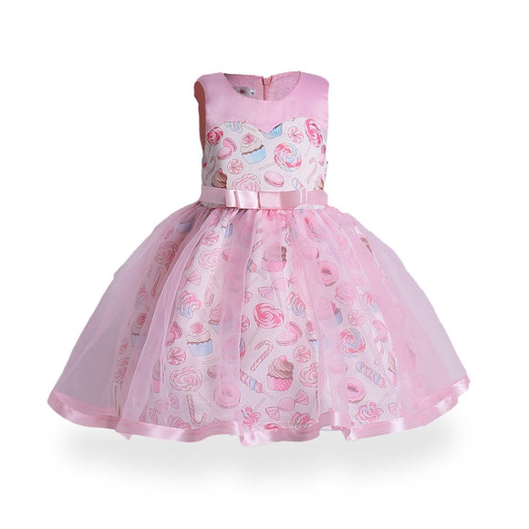 Girl princess dress Europe and the United States girl dress ice cream printing children dress dress
