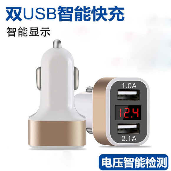 Led car charger car with display charger smart car electronics digital display car charger dual usb