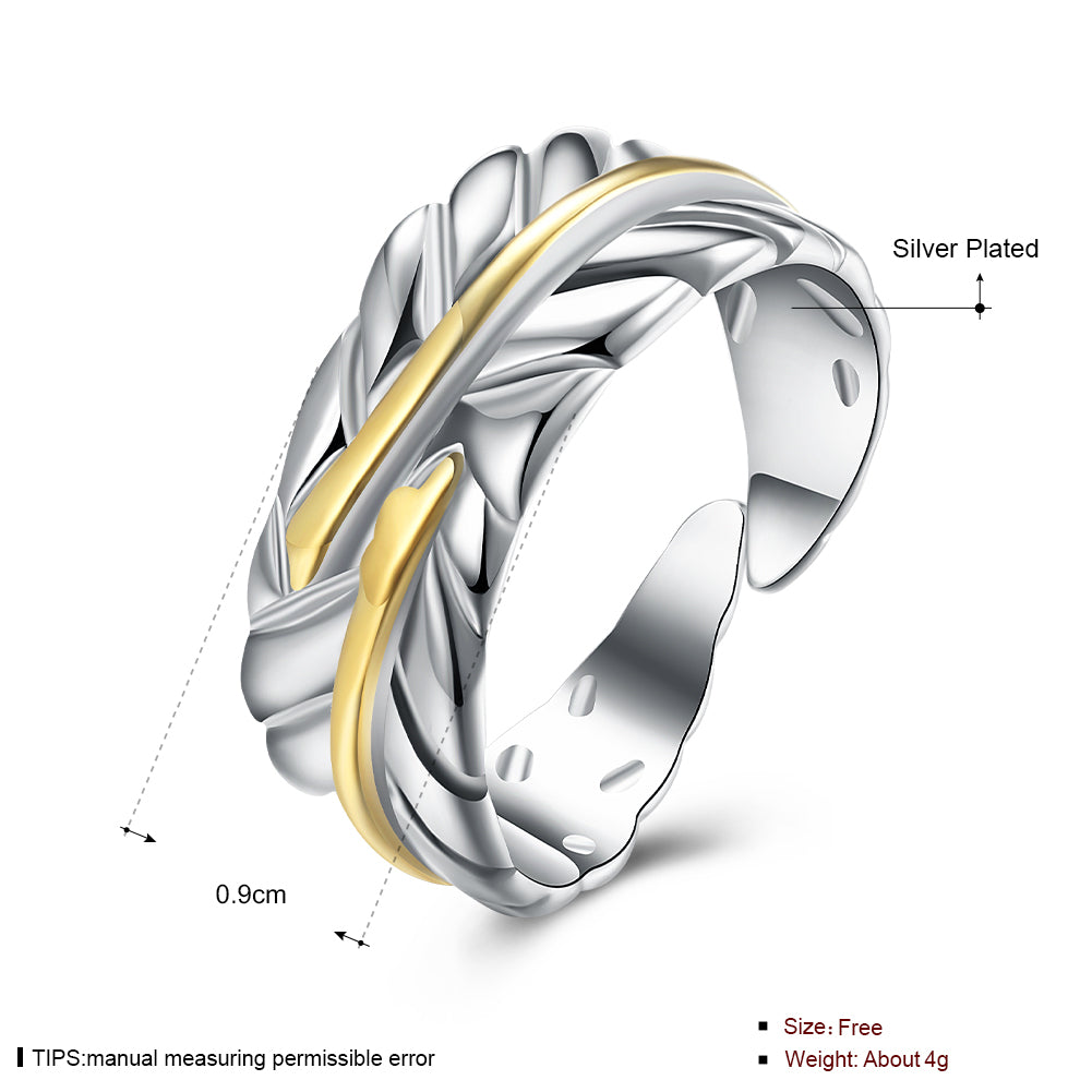 Open Color Separation Feather Ring Japan And South Korea Silver