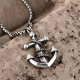Ancient Maya fashion retro stainless steel anchor pendant necklace GMYN052