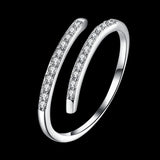 LEKANI 925 sterling silver two-row stone opening ring jewelry wholesale website factory direct SVR0
