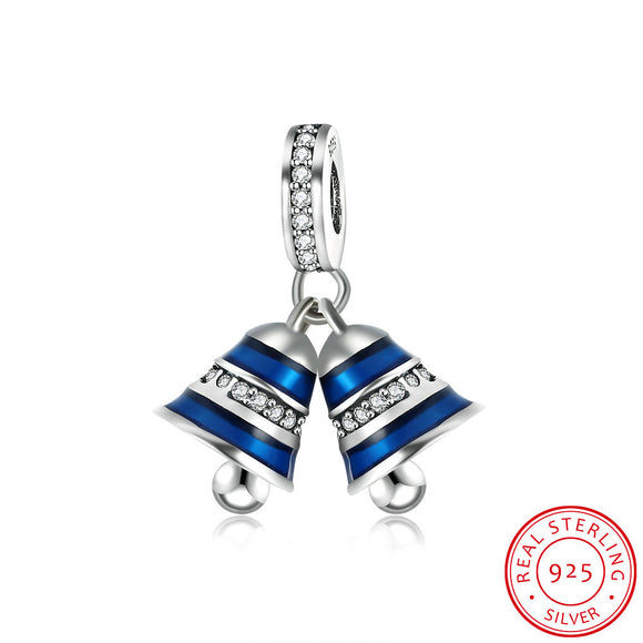 Pandora 925 Silver Pendant Charm - Two Bells Diamond Accessories Blue Jewelry wholesaler PDRSVP099