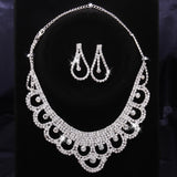 Imitation diamond necklace + ear Ding diamond wedding jewelry white wedding wedding necklace flower