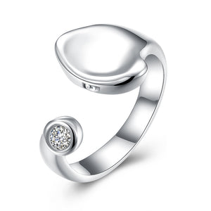Recessed stone inlay ring silver round opening zircon ring wholesale R047