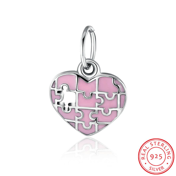 Pandora 925 Silver Pendant Charm - Pink Heart Accessories Jewelry Wholesalers PDRSVP093