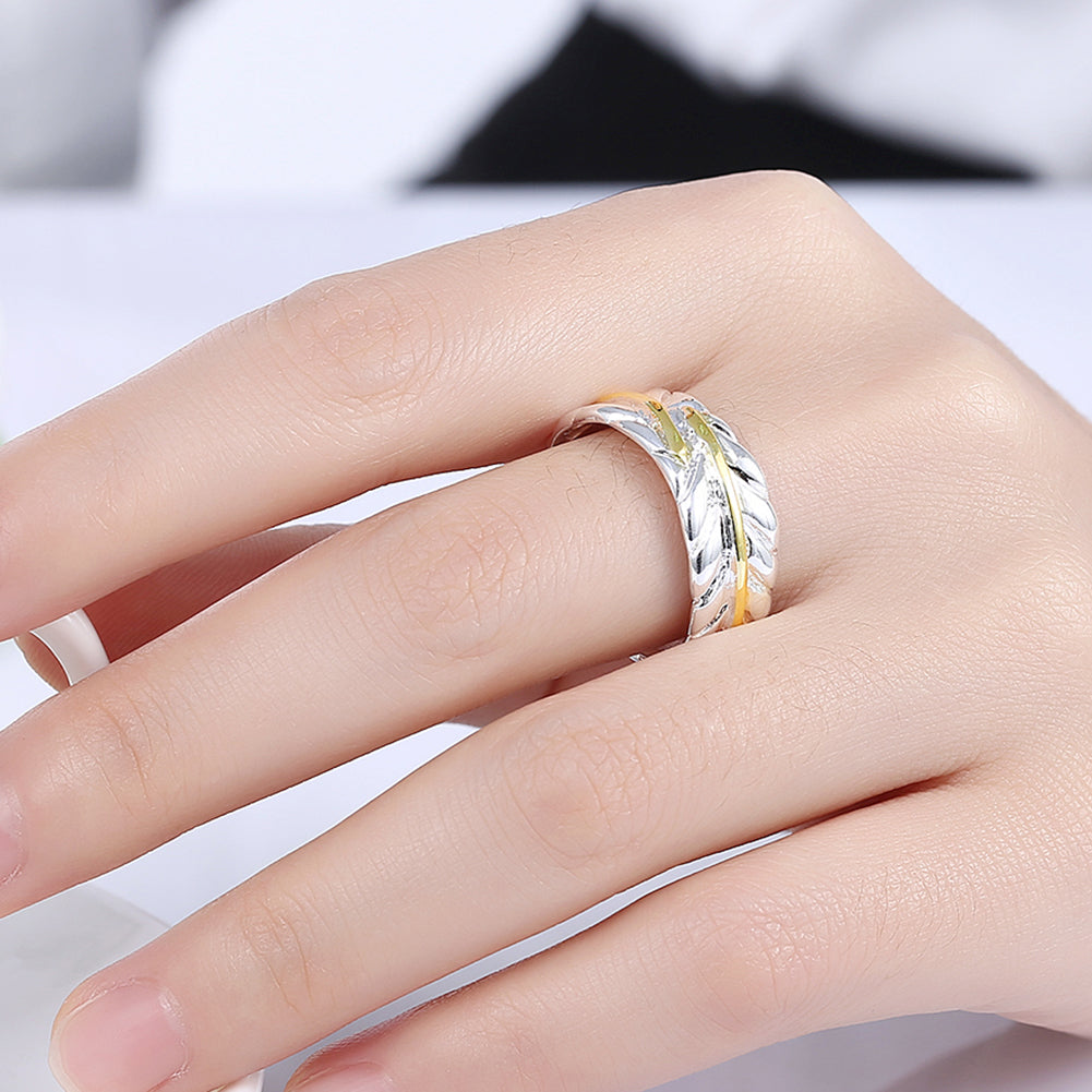 Open color separation feather ring Japan and South Korea silver ...