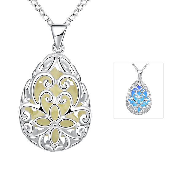 Luminous series drop-shaped engraved flower luminous necklace YGN007-C dark blue